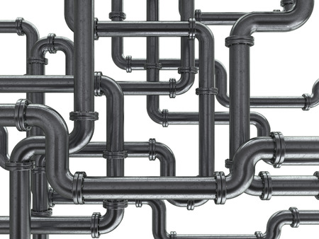 sewerage: 3d illustration of steel pipes background