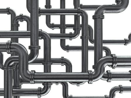 caños de agua: Ilustración 3D de tubos de acero de fondo