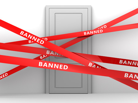 banned: 3d illustration of door and banned red tape Stock Photo