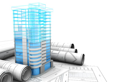 3d illustration of building design concept