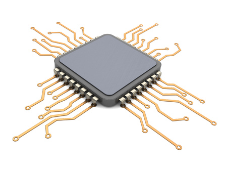 3d illustration of electronic circuit and CPU over white background