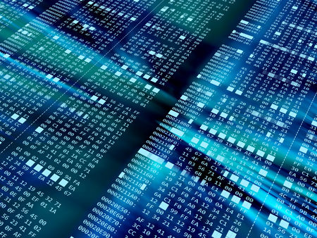 hexadecimal: 3d illustration of hexadecimal code blue background