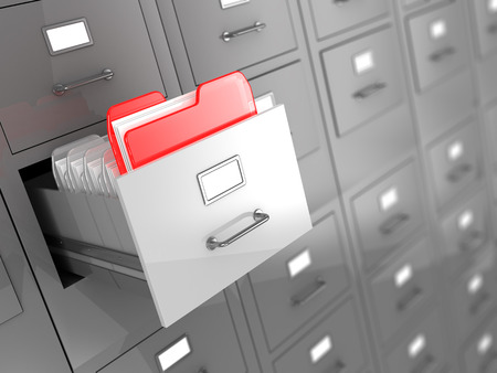 registry: 3d illustration of archive room background with one urgent folder Stock Photo