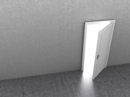 abriendo puerta: Ilustraci�n 3d abstracto de puerta que se abre en la sala de hormig�n
