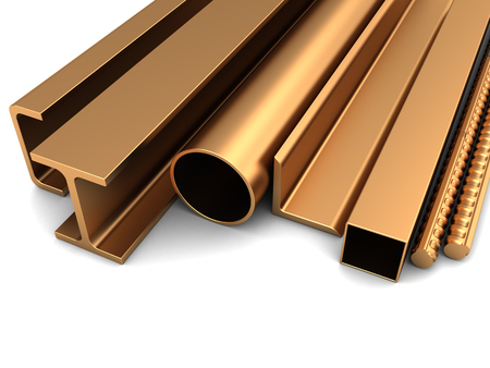 metallurgy: 3d illustration of rolled metal, yellow color, brass or copper