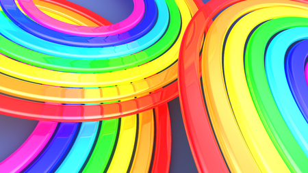 3d rainbow: abstract 3d illustration of glass rainbow background Stock Photo