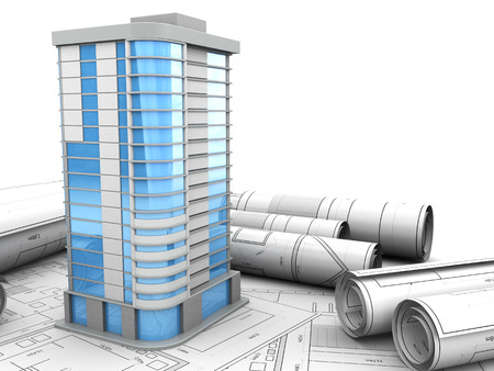 office building: abstract 3d illustration of building design concept