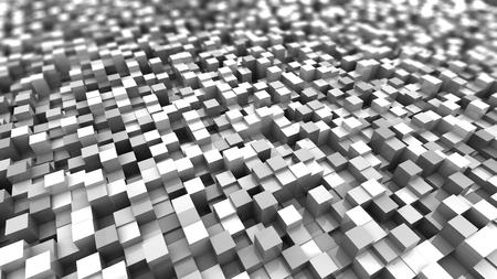 tiefe: abstract 3d illustration of white cubes background