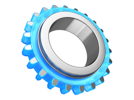 metal parts: 3d illustration of steel and glass gear wheel