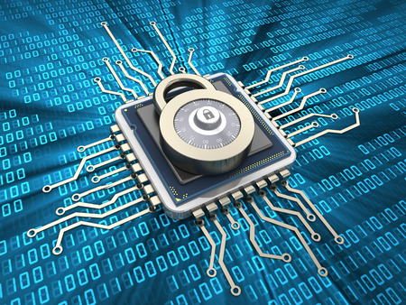 abstract 3d illustration of cpu with lock protection