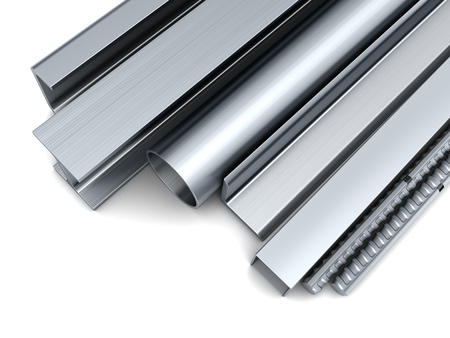 steel bar: 3d illustration of rolled metal over white background