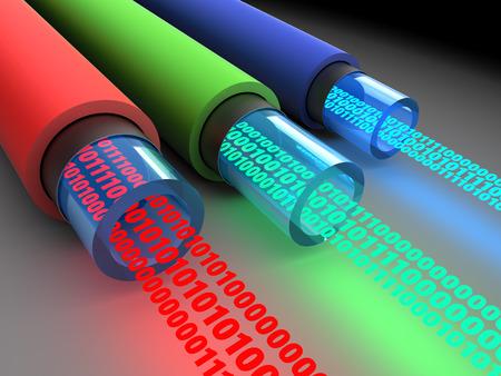 fiber optics: 3d illustration of fiber optics cables with binary data Stock Photo