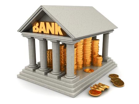 3d illustration of bank full of golden coins Stock Photo