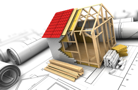 prefabricated: 3d illustration of house frame design project Stock Photo