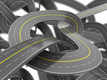 slowdown: abstract 3d illustration of road knot background Stock Photo