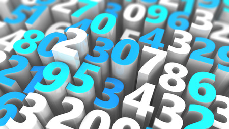 numbers background: abstract 3d illustration of random numbers background