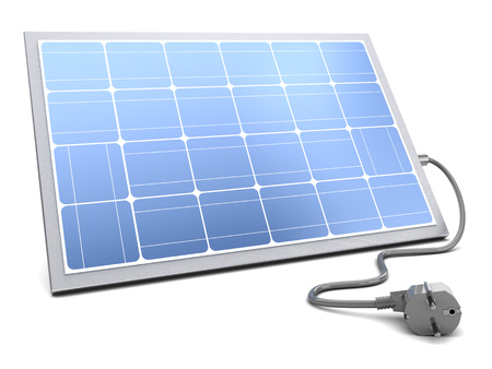 power cable: 3d illustration of solar panel with power cable over white backgorund