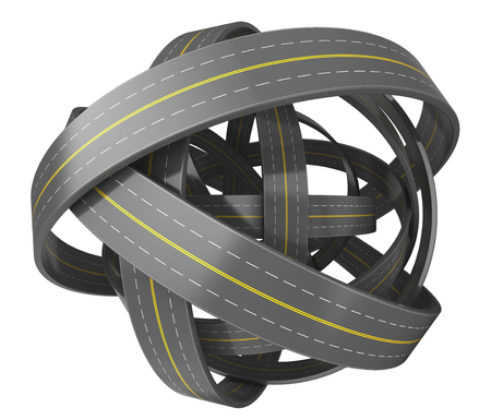 complexity: abstract 3d illustration of roads knot isolated over white background Stock Photo