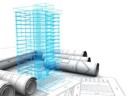建物のデザイン コンセプトの 3 d イラストレーション