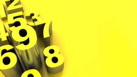 abstract 3d illustratie van gele aantallen achtergrond Stockfoto
