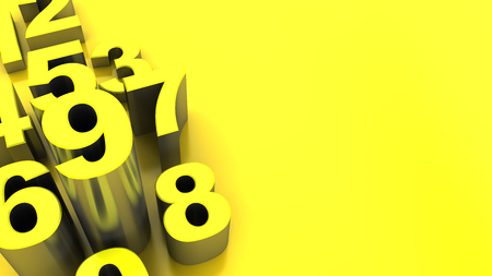 numbers abstract: abstract 3d illustration of yellow numbers background Stock Photo