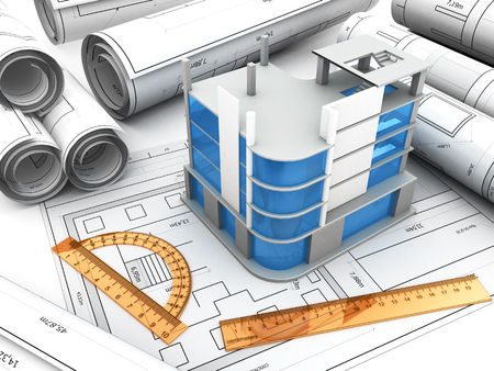 construction projects: 3d illustration of modern building design project