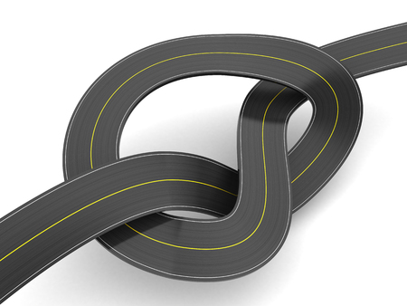 slowdown: 3d illustration of road knot over white background