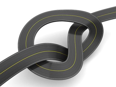 slowdown: 3d illustration of road knot over white background
