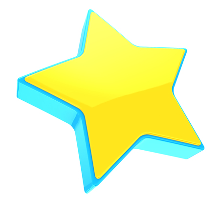 yellow star: 3d illustration of yellow star with blue frame, isolated on white Stock Photo