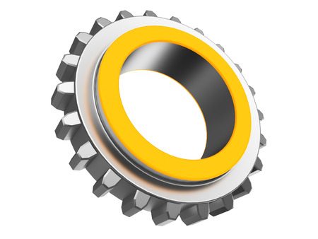 color ring: 3d illustration of gear wheel with orange color ring