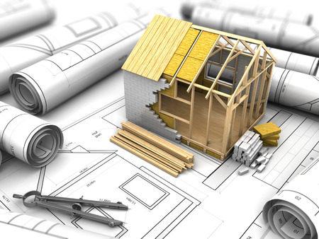 prefabricated: 3d illustration of house structure design Stock Photo