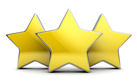 rating: 3d illustration of three stars rating Stock Photo