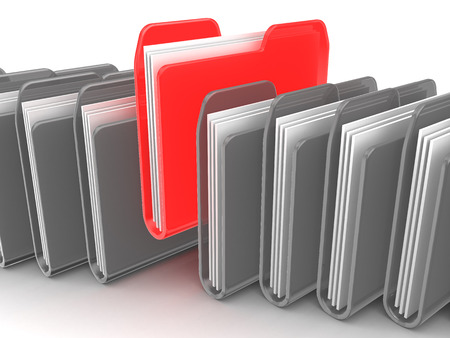 3d illustration of folders row with one selected