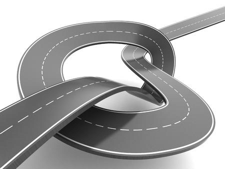 slowdown: 3d illustration of asphalt road with knot over white background