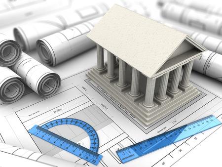 3d illustration of ancient building blueprints