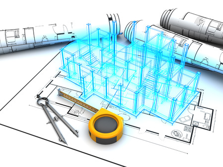 3D-Darstellung der Gebäude-Design-Projekt Standard-Bild - 61546491