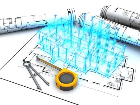 3d ilustración de proyecto de diseño de edificios Foto de archivo - 61546491