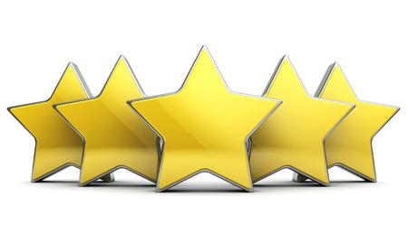 rating: 3d illustration of five stars rating