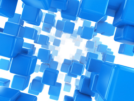 white abstract: abstract 3d illustration of blue cubes background