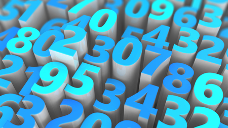 numbers background: 3d illustration of random numbers background