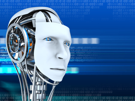 3d illustration of cyborg or robot head over blue digital background Stock Photo