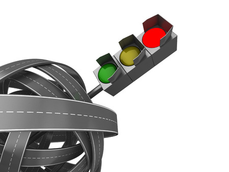 red traffic light: 3d illustration of road knot and red traffic light