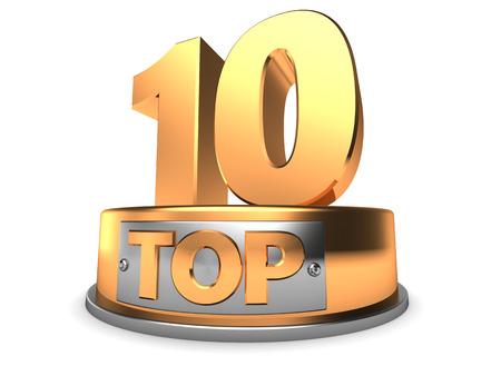 top rated: 3d illustration of top 10 symbol over white
