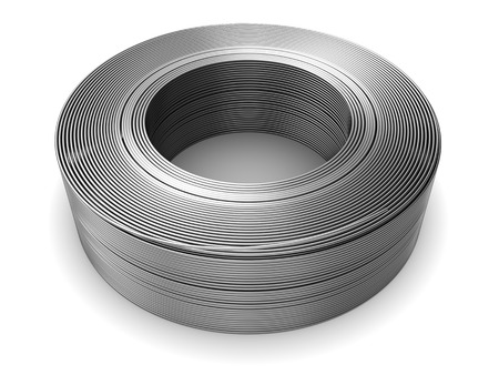 spirale: 3D-Darstellung von Metalldrahtspule auf weißem Hintergrund