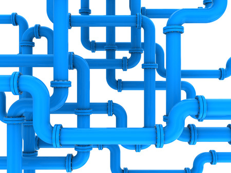 oil pipe: 3d illustration of blue pipes system