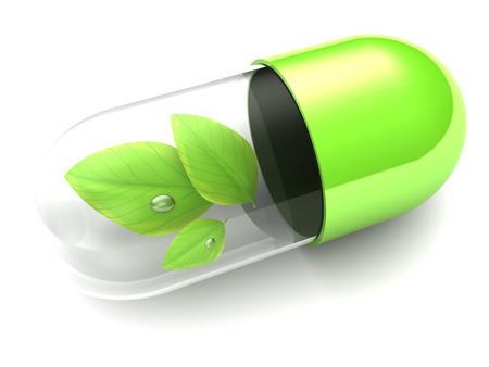 capsules: 3d illustration of pill with leaf inside, over white background