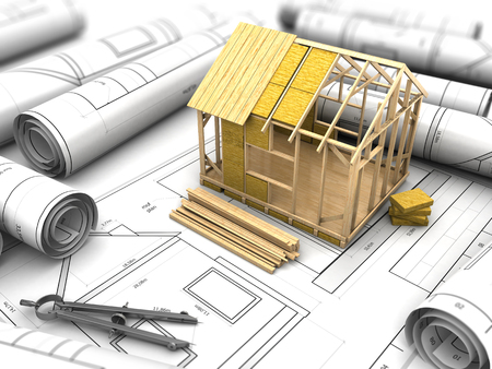 wooden circle: 3d illustration of house design project Stock Photo