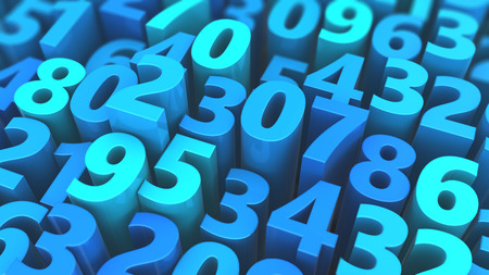 numbers background: abstract 3d illustration of blue numbers background