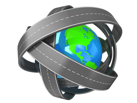 complicated journey: abstract 3d illustration of roads around earth globe, over white background