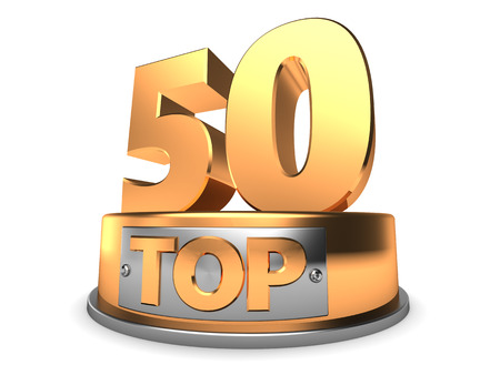 top 50 icon: 3d illustration of top 50 symbol over white background
